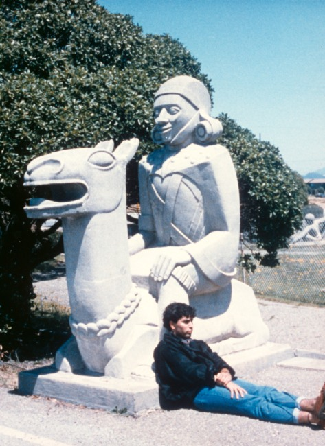 """Sargent Johnson, sculptor, original sculpture from Court of Pacifica, Treasure Island, entitled """"Inca Indian on Llama."""""""