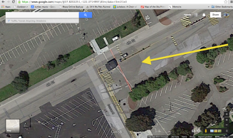 Octagonal outline of Tower of the Sun readily visible on Google maps. Located near the intersection of 4th Street and Avenue C, Treasure Island (Job Corps guard shack is the small, black-roofed rectangular building near the center of the octagon)
