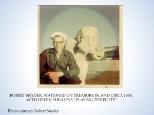 Sailor Bob Snyder and Helen Phillips sculpture, circa 1968