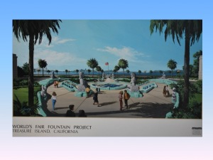 Blue-sky plan for sculpture garden on Treasure Island featuring Sotomayor fountain and Court of Pacifica sculptures